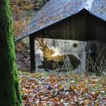 Côté nord, bois gravé à la tronçonneuse et peinture blanche.