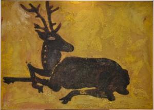 Marc de raisins, tanins, pigments naturels...sur panneau de bois.  100 x 120 cm