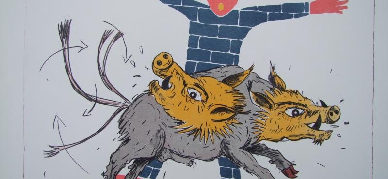 Didier CLAD, édition d'une estampe à Prague, en collaboration avec l'artiste praguois Jiri Votruba.           » The Blue Golem «