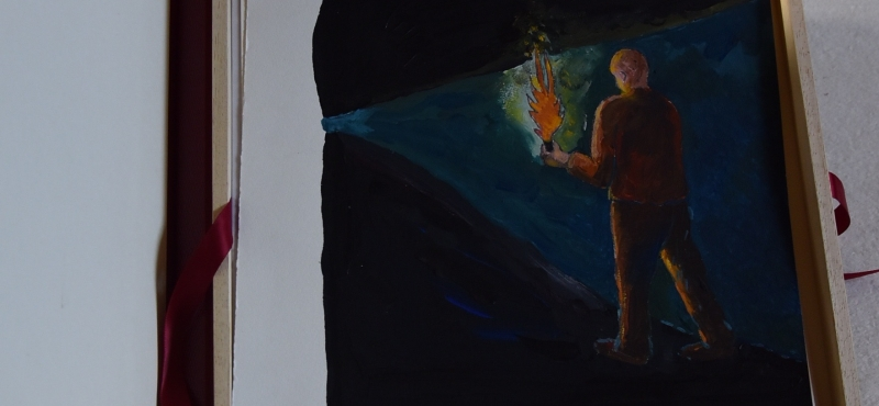 Dante Alighieri (1265-1321). Divina commedia.   » Sous la pluie de Feu »  coffret de dessins à l´aquarelle de Didier Clad. 2021 , 700 ème anniversaire de la mort de Dante.