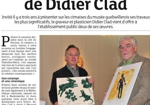 Musée Théodore Deck: don de deux oeuvres de Didier CLAD