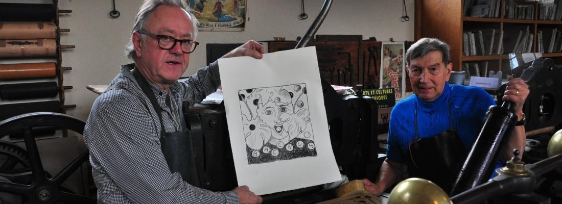 Didier Clad et Tom Borocco. L'art de la véritable lithographie sur pierre.
